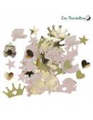 100 Confettis Princesse & Carrosse Rose et Or