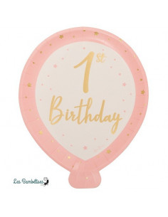 8 Assiettes Ballons Rose et Or 1st Birthday