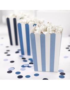 6 Boites à Popcorn Rayures Bleues Assorties