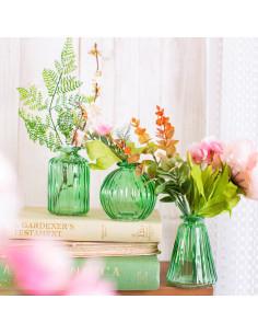 3 Petits Vases en Verre Transparent Vert