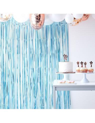 rideau de franges bleu ciel metallise mat