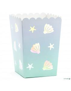 6 Boites à Popcorn Coquillages Thème Sirène