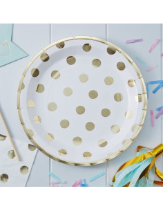 8 assiettes blanches grands pois dorés