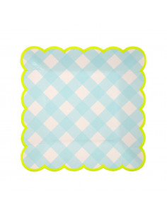 12 petites assiettes vichy bleu bordure jaune fluo meri meri