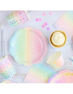 10 Petites assiettes pastels arc en ciel avec pois irisés