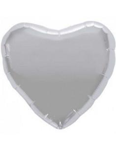 Ballon métallique coeur argent brillant