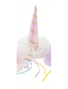 Barrette chapeau licorne rose irisé