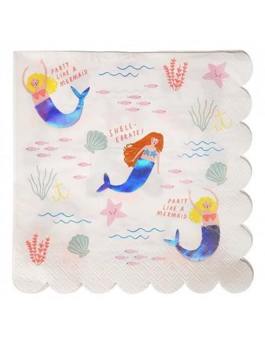 16 serviettes pour decoration anniversaire sirène Meri Meri
