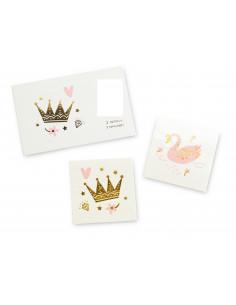 2 tatouages thème princesse : 1 tattoo couronne et 1 tattoo cygne