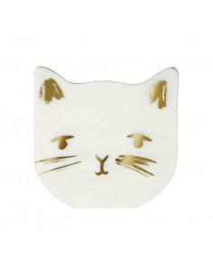 16 petites serviettes chat doré Meri Meri